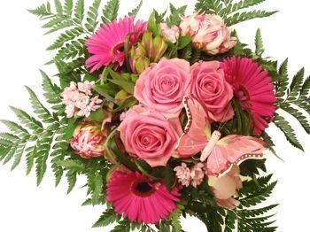 Bouquet de forme arrondie rose et fuschia